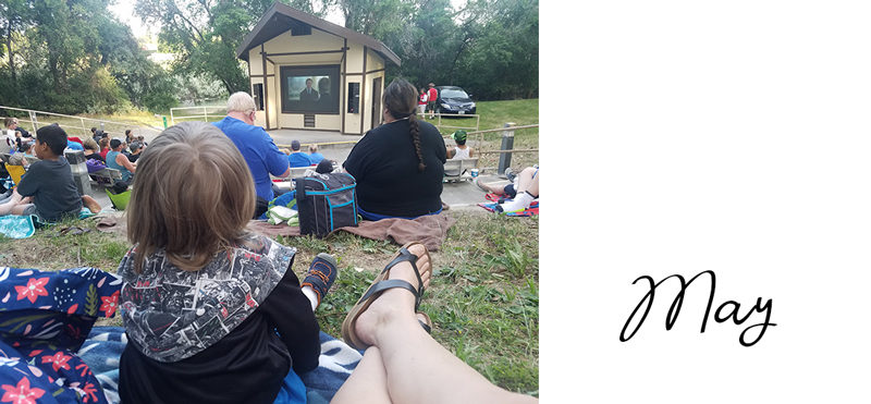 Outdoor movie at local Tri-Cities, WA campground