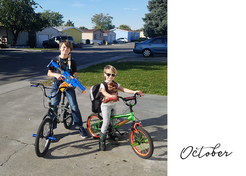 Brothers riding their bikes, ready for battle