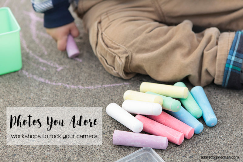 Learn to get off manual with a DSLR workshop from Adored by Meghan. Little boy with sidewalk chalk.